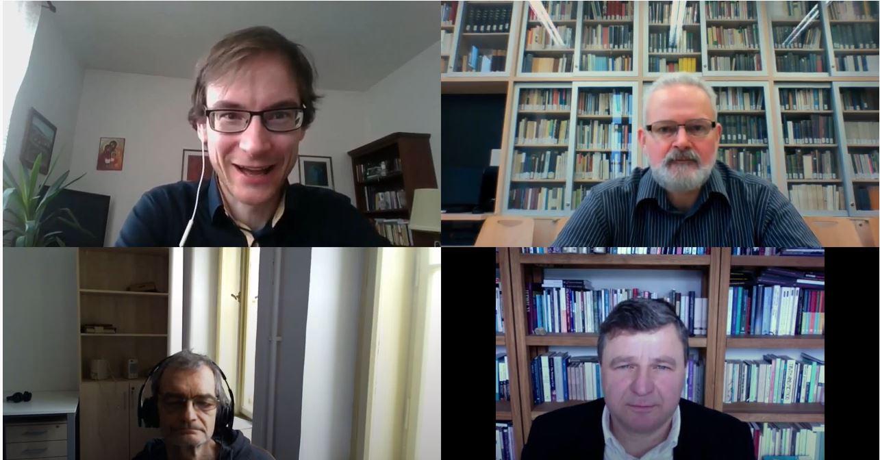 Matej Cíbik, prof. Pavel Barša, Martin Schmarcz, prof. Jiří Přibáň,